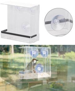 mangeoire pour oiseaux transparente en plexiglas avec ventouses pour observation sur une fenetre
