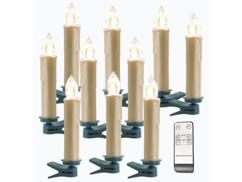 Pack de 10 bougies à LED sans fil avec télécommande - Doré