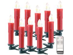 pack de 10 bougies led sans fil avec pince pour sapin de noel couleur rouge avec telecommande