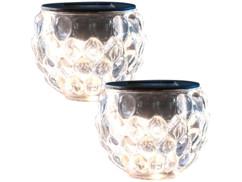 """Pack de 2 photophores en verre à LED à alimentation solaire, Ø 8 cm """"Lucilla"""""""