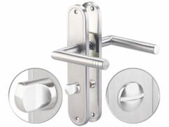 Poignées de porte en acier inoxydable avec plaques longues et verrou