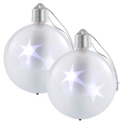 Set de 2 boules de Noël avec LED effet 3D - Blanc