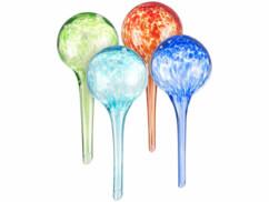 Set de 4 doseurs d'irrigation en verre coloré - Ø 6 cm