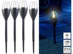 Set de 4 torches de jardin solaires à LED aspect flamme
