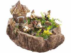 Souche décorative - Les lutins des bois et leur maison de feuilles