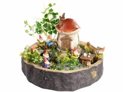 """Souche décorative """"Les nains et leur maison champignon"""" (reconditionnée)"""