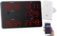 station meteo digitale style panneau aeroport avec capteur exterieur et application consultation à distance FWS-200 infactory