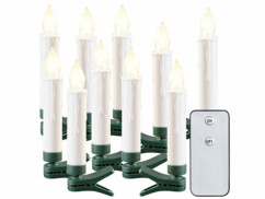 10bougies à LED sans fil pour sapin de Noël d'extérieur avec télécommande