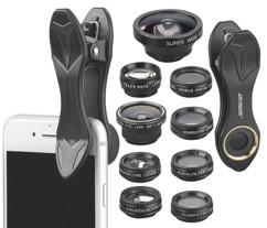 set de 10 lentilles à effets pour appareil photo apn fisheye téléobjectif grand angme polarisant effet étoile cvl-210 Somikon