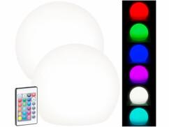 2 boules lumineuses à LED solaires télécommandées RVBB/ 60lm/ IP67/ Ø 20cm