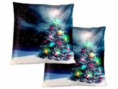 "2 coussins lumineux décoratifs ""Sapin de Noël"" - 40x 40cm"