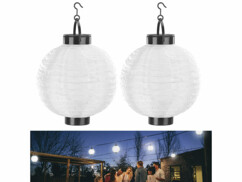 Deux lampions solaires à LED de 20 cm de diamètre à suspendre en extérieur.