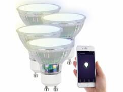 4 ampoules LED RVB CCT connectées GU10 compatibles Alexa et Google Assistant