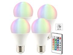 4 ampoules LED RVB E27 blanc chaud 7,5 W télécommandées