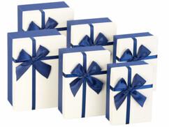 6 paquets-cadeaux avec boucle bleue