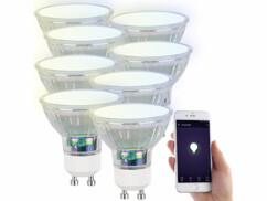 8 ampoules LED RVB CCT connectées GU10 compatibles Alexa et Google Assistant