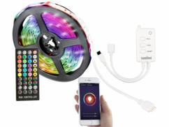 Bande LED RVB connectée de 5 m, compatible avec les commandes vocales.