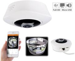 Caméra de surveillance IP panoramique 360° Full HD à vision nocturne