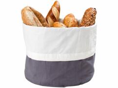 Corbeille à pain avec sac en coton de 25 cm de diamètre.