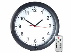 Horloge murale avec caméra de surveillance espion intégrée et detecteur de mouvements.