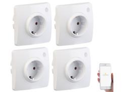 4 prises encastrées connectées compatibles avec Amazon Alexa et Assistant Google