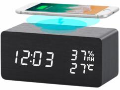 Réveil LED avec chargeur compatible Qi, par Infactory.