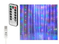 Rideau lumineux USB Lunartec à LED RVB.