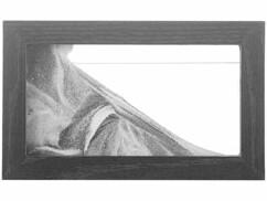Tableau de sable noir et blanc en bois de 20 x 12 cm.