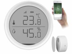 Thermomètre et hygromètre connecté Luminea Home Control avec écran LCD rond.