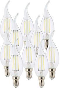 10 ampoules LED à filament - culot E14 - forme Flamme - Blanc