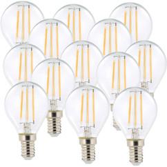 10 ampoules LED à filament - culot E14 - forme Goutte - Blanc chaud