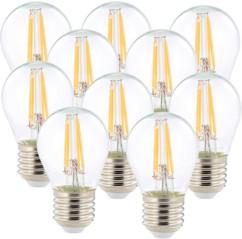 10 ampoules LED à filament - culot E27 - forme Goutte - Blanc chaud