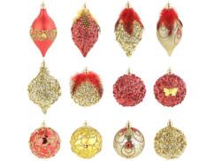 12 boules de Noël rouge et or à plumes et paillettes