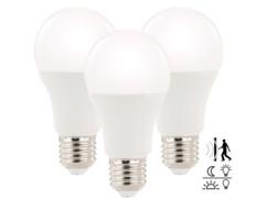 3 ampoules à LED 12 W/E27 avec détecteur d'obscurité et de mouvement blanc