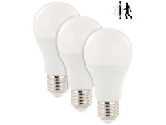 3 ampoules à LED 12 W/E27 avec détecteur de mouvement radar Blanc