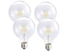 4 ampoules Globe LED à filament A++, E27, 6 W, 600 lm, 360°, Blanc Chaud