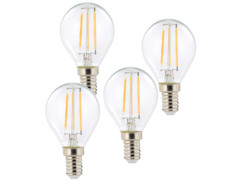 4 ampoules LED à filament - culot E14 - forme Goutte - Blanc chaud