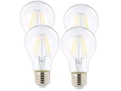 4 ampoules LED à filament - culot E27 - forme Classique - Blanc