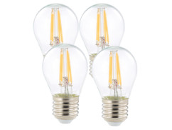 4 ampoules LED à filament - culot E27 - forme Goutte - Blanc chaud