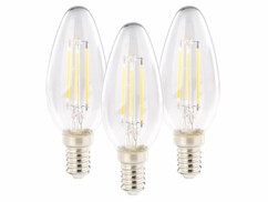 3 ampoules bougie LED E14 - 4 W - 470 lm - Blanc chaud