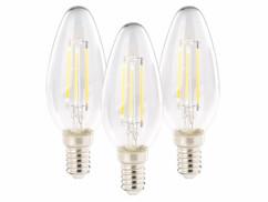 3 ampoules bougie LED E14 - 4 W - 470 lm - Blanc chaud