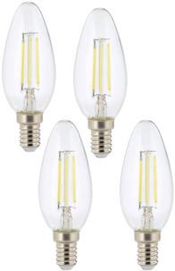 Ampoule LED à filament - culot E14 - forme Bougie - Blanc - x4
