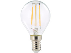 ampoule led a filament design retro avec eclairage 360 forme goutte g45 culot e14 luminea version blanc chaud