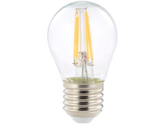 ampoule led a filament design retro avec eclairage 360 forme goutte g45 culot e27 luminea version blanc chaud