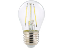 ampoule led a filament design retro avec eclairage 360 forme goutte g45 culot e27 luminea version blanc