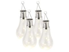 pack de 4 Mini lampes solaires déco d'extérieur design ampoule avec fil lumineux pour ambiance romantique