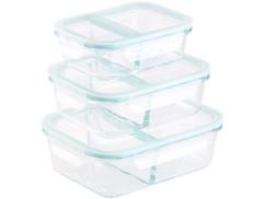 Boîtes de conservation en verre à 2 compartiments - x3