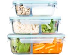 3 boîtes de conservation en verre à 2 compartiments