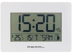 horloge radiopilotée automatique grands chiffres avec thermomètre intégré cadre blanc pearl