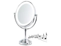 miroir grossissant a pied pour maquillage 2 faces grossissement x5 avec haut parleur sans fil bluetooth intégré grand format